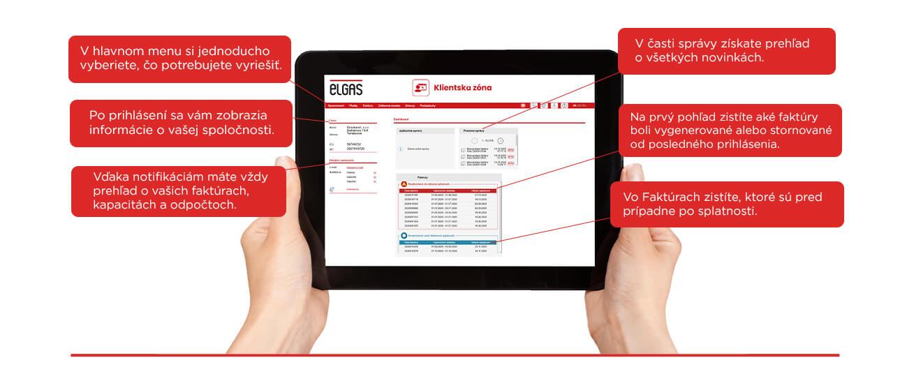tablet zobrazujuci rozhranie elgas aplikacie